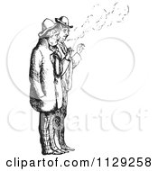 Clipart Of Retro Vintage Men Smoking Cigarettes In Black And White Royalty Free Vector Illustration