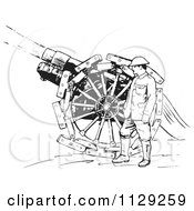 Clipart Of A Retro Navy Sailor With A Siege Gun In Black And White Royalty Free Vector Illustration