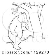 Cartoon Clipart Of An Outlined Standing Bear With Apples By A Tree Black And White Vector Coloring Page by Picsburg