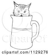 Cartoon Clipart Of An Outlined Curious Kitten In A Water Pitcher Black And White Vector Coloring Page by Picsburg