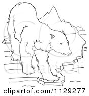 Cartoon Clipart Of An Outlined Polar Bear On An Ice Ledge Near Mountains Black And White Vector Coloring Page
