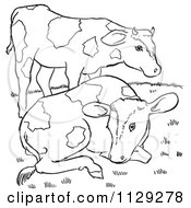 Cartoon Clipart Of Outlined Farm Cows On A Hill Black And White Vector Coloring Page