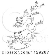 Cartoon Clipart Of An Outlined Trio Of Frogs Jumping Into A Pond Black And White Vector Coloring Page by Picsburg