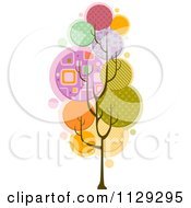 Cartoon Of A Funky Tree With Abstract Foliage Royalty Free Vector Clipart