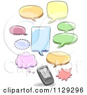 Cartoon Of Colorful Text Message Speech Balloons Over A Cell Phone Royalty Free Vector Clipart