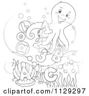 Cartoon Of An Outlined Happy Octopus With Letters And Numbers Royalty Free Vector Clipart