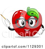 Cartoon Of An Apple Teacher Mascot Using A Pointer Stick Royalty Free Vector Clipart