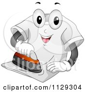 Cartoon Of A Happy Shirt Mascot Ironing Itself Royalty Free Vector Clipart