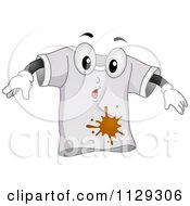 Cartoon Of A Surprised Shirt Mascot With A Stain Royalty Free Vector Clipart