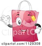 Pink Shopping Bag Mascot Winking And Gesturing Okay