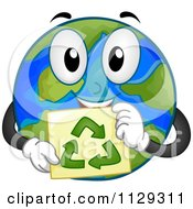 Happy Earth Mascot Holding A Recycle Sign