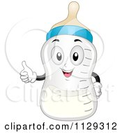 Cartoon Of A Happy Baby Milk Bottle Holding A Thumb Up Royalty Free Vector Clipart