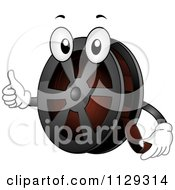 Cartoon Of A Film Reel Mascot Holding A Thumb Up Royalty Free Vector Clipart