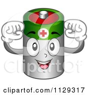 Cartoon Of A Strong Battery Mascot Flexing His Arms Royalty Free Vector Clipart
