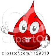 Cartoon Of A Happy Blood Drop Mascot Holding A Thumb Up Royalty Free Vector Clipart