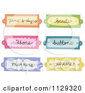 Cartoon Of Colorful Arts And Crafts Labels Royalty Free Vector Clipart
