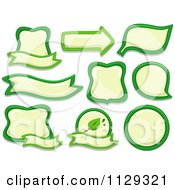 Cartoon Of Green And Yellow Eco Labels Royalty Free Vector Clipart