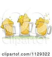 Cartoon Of Three Beer Mugs With Froth Royalty Free Vector Clipart