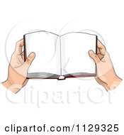 Cartoon Of Hands Holding An Open Book Royalty Free Vector Clipart