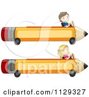 Cartoon Of Happy Children In Pencil Carts Royalty Free Vector Clipart