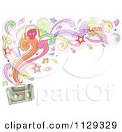 Cartoon Of A Doodled Cassette Tape With Swirls Splashes Notes And Stars Royalty Free Vector Clipart by BNP Design Studio