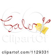 Cartoon Of Scissors And A Tag In Sales Text Royalty Free Vector Clipart