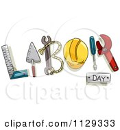 Cartoon Of Labor Day Text And Tools 2 Royalty Free Vector Clipart