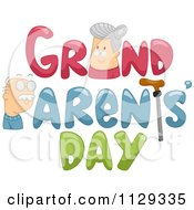 Cartoon Of A Granny And Grandpa With Grandparents Day Text Royalty Free Vector Clipart