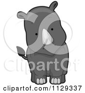 Cartoon Of A Cute Rhino Royalty Free Vector Clipart by BNP Design Studio