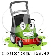 Cartoon Of A Lawn Mower Mascot At Work Royalty Free Vector Clipart