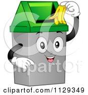 Cartoon Of A Happy Trash Can Mascot Inserting A Banana Peel Royalty Free Vector Clipart