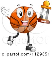 Successful Basketball Mascot Carrying A Trophy