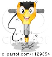Cartoon Of A Happy Jackhammer Mascot Breaking Up Cement Royalty Free Vector Clipart