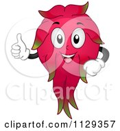 Cartoon Of A Dragon Fruit Mascot Holding A Thumb Up Royalty Free Vector Clipart by BNP Design Studio