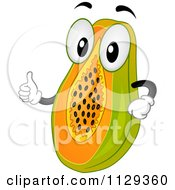 Cartoon Of A Papaya Mascot Holding A Thumb Up Royalty Free Vector Clipart