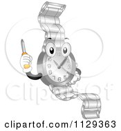 Cartoon Of A Watch Mascot Holding Up A Repair Screwdriver Royalty Free Vector Clipart by BNP Design Studio