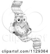 Cartoon Of A Watch Mascot Holding A Thumb Up Royalty Free Vector Clipart
