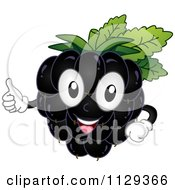 Cartoon Of A Blackberry Mascot Holding A Thumb Up Royalty Free Vector Clipart