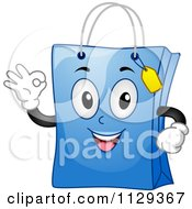 Cartoon Of A Blue Shopping Bag Mascot Gesturing Okay Royalty Free Vector Clipart