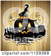 Clipart Of A Halloween Jackolantern Pumpkin And Tombstone With Eyes And Spiders Over Wood 3 Royalty Free Vector Illustration