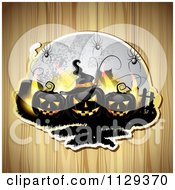 Black Halloween Jackolantern Pumpkins And Tombstones With Spiders And A Full Moon Over Wood