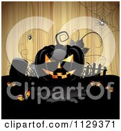 Clipart Of A Halloween Jackolantern Pumpkin And Tombstone With Eyes And Spiders Over Wood 1 Royalty Free Vector Illustration