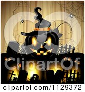Halloween Jackolantern Pumpkin And Tombstones With Eyes And Spiders Over Wood