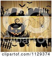 Halloween Jackolantern Pumpkin And Tombstones With Spiders Over Wood