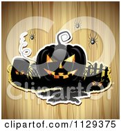 Clipart Of A Halloween Jackolantern Pumpkin And Tombstone With Eyes And Spiders Over Wood 2 Royalty Free Vector Illustration