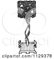 Clipart Of A Retro Vintage Black And White Topiary Bush Royalty Free Vector Illustration