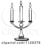Clipart Of A Retro Vintage Black And White Triple Candle Holder Royalty Free Vector Illustration