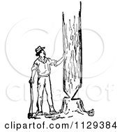 Clipart Of A Retro Vintage Black And White Lumberjack Man Cutting Down A Tree Royalty Free Vector Illustration by Prawny Vintage