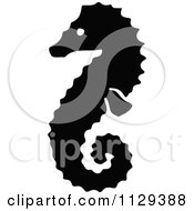 Clipart Of A Seahorse Silhouette Royalty Free Vector Illustration by Prawny Vintage