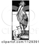 Clipart Of A Retro Vintage Black And White Fox And A Stork Royalty Free Vector Illustration by Prawny Vintage